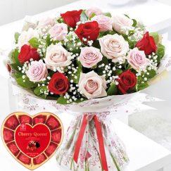 Bouquet de 18 rosas Ecuatorianas y Caja de Bombones