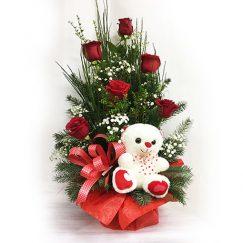1523c1523 Arreglo Floral de 06 Rosas Importadas y Peluche