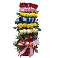 36 Rosas Multicolor, diseñada en forma escalonada