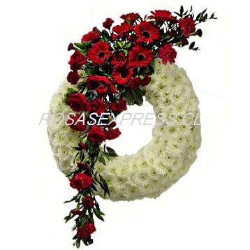 1864 Corona blanca con franja de flores con toques de rosas
