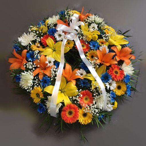 1866 Corazón fúnebre con flores surtidas de la temporada florerias santiago chile - coronas condolencia