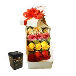 1596 Caja de 12 Rosas Importadas + Caja Bombones