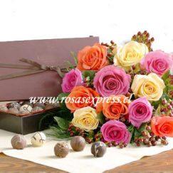 1600 Bouquet de 12 Rosas Coloridas y Bombones