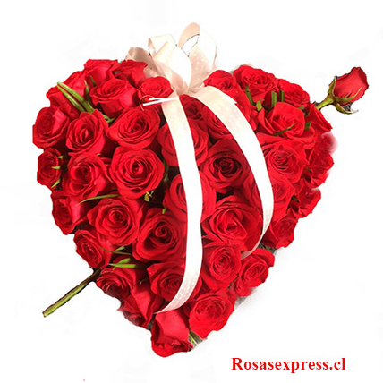 Floreria RosasExpress Santiago Chile, Corazon de Rosas