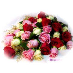 1769 Bouquet de 24 rosas tonos rojo o pastel, Flores al extranjero, producto Floreriasdechile, Rosasexpress.cl