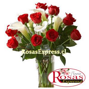 1804 Florero de 12 Rosas importadas + 06 Calas