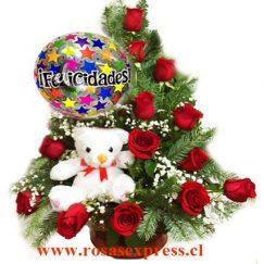 1829 Arreglo floral de 12 rosas + globo + peluche Florerias de Chile Producto Rosas Express Chile