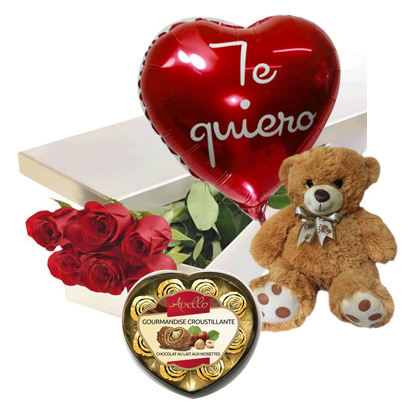 1853 Caja de 06 rosas importadas + globo + Bombones Avello corazón + Peluche