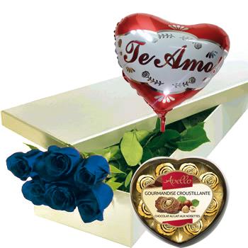 1855 Caja de 06 Rosas azul + Globo metálico + Bombones Avello