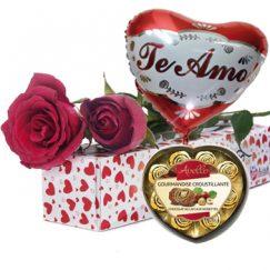 1856 Caja de 02 rosas importadas + Globo + Bombones