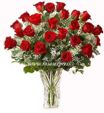 Florero de vidrio 24 Rosas seleccionadas