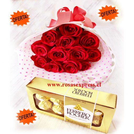 1350 RosasExpress Chile Bouquet de 12 Rosas Importadas + Bombones Ferrero 100 gr.