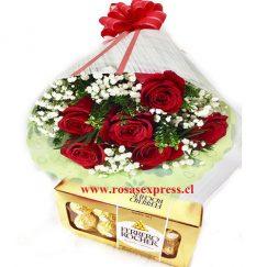 Bouquet de 06 rosas + Bombones Ferrero