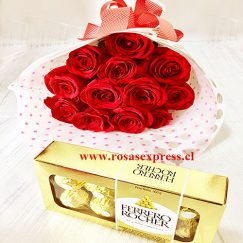 Bouquet de 12 rosas + Bombones Ferrero 100gr