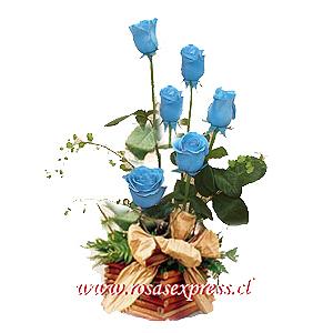 1550 Arreglo Floral de 06 Rosas Azul