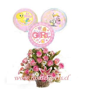1732 Arreglo Floral Nacimiento de 12 rosas + 03 liliums + 03 globos