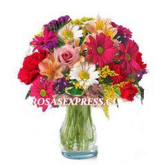 1789 Florero con Flores variadas de la temporada RosasExpress