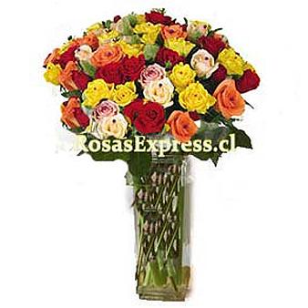 1846 Florero de Vidrio con 18 Rosas importadas