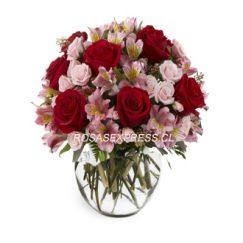 1870 Pecera floral de 06 rosas y alstromerias finamente diseñadas