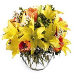 1871 Pecera floral de 04 varas de liliums y flores de complementos finamente diseñadas.