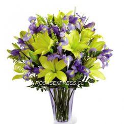 Florero diseñada con 05 varas de Liliums amarillo acompañadas con 05 varas de Iris